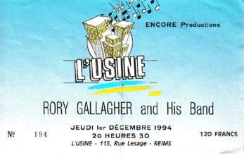 "1er décembre 1994 Rory Gallagher and His Band à Reims ""l'Usine"""