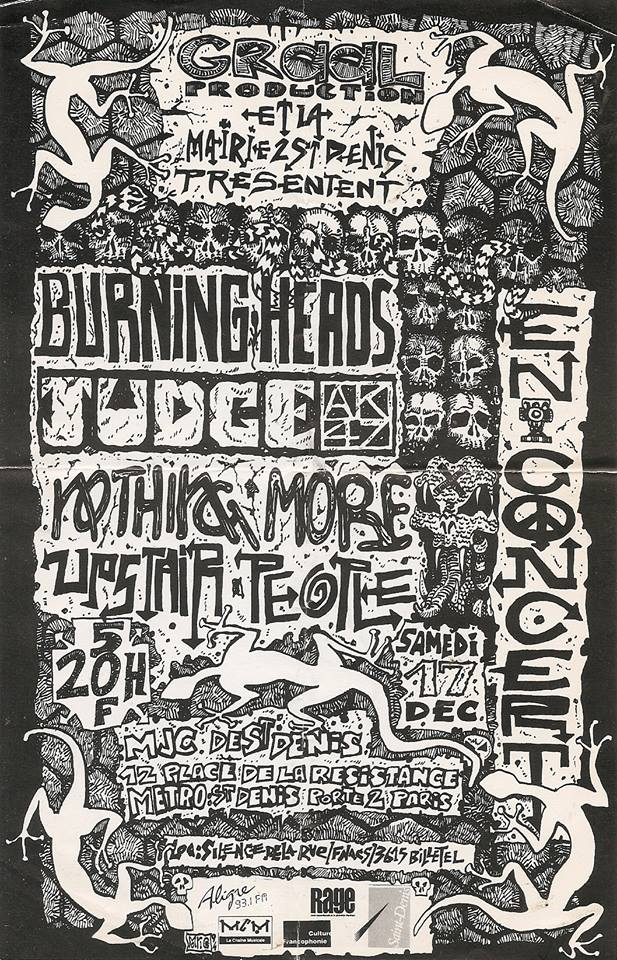 "17 decembre 1994 (?) Burning Heads, Judge AK47, Nothing More, Upstair People à Saint Denis ""MJC"""
