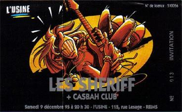 """9 décembre 1995 Les Sheriff, Casbah Club à Reims """"l'Usine"""""""
