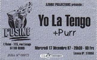"""17 decembre 1997 Yo La Tengo, Purr à Reims """"l'Usine"""""""
