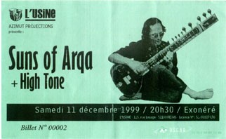 "11 décembre 1999 Suns of Arqa, High Tone à Reims ""l'Usine"""