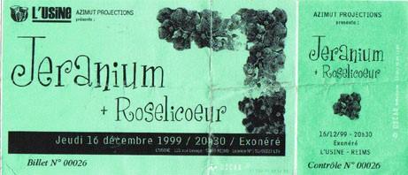 """16 decembre 1999 Jeranium, Roselicoeur à Reims """"l'Usine"""""""