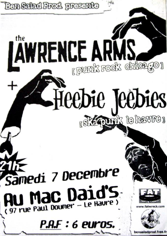 "7 décembre 2002 The Lawrence Arms, Heebie Jeebies au Havre ""Mac Daid's"""