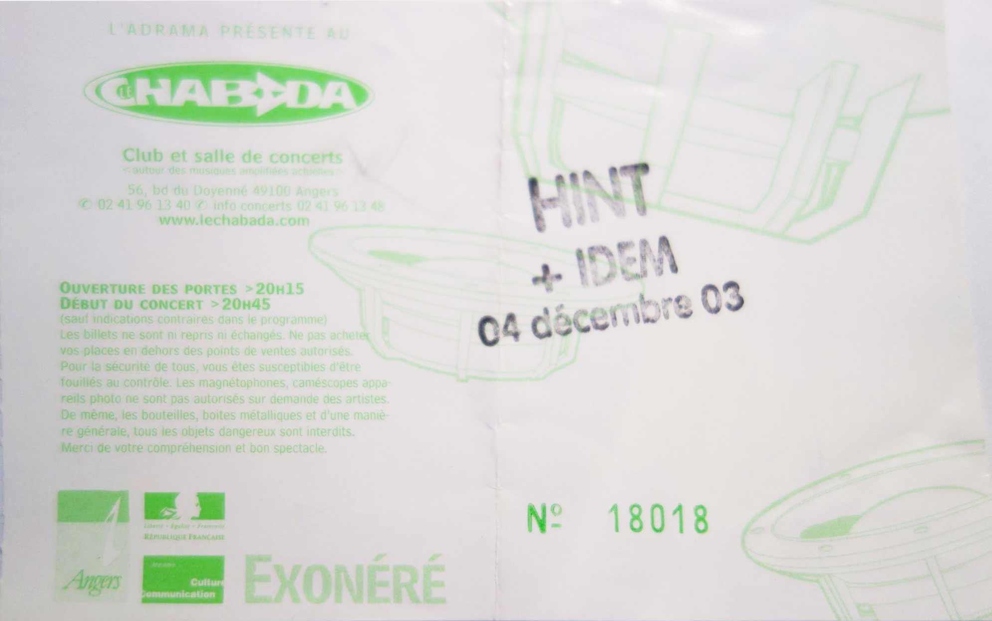 """4 décembre 2003 Hint, Idem à Angers """"Chabada"""""""