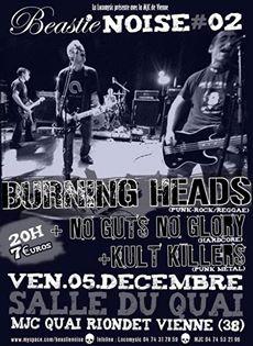 """5 décembre 2008 Burning Heads, No Guts No Glory, Kult Killers à Vienne """"MJC Salle du Quai (Beastie Noise)"""""""