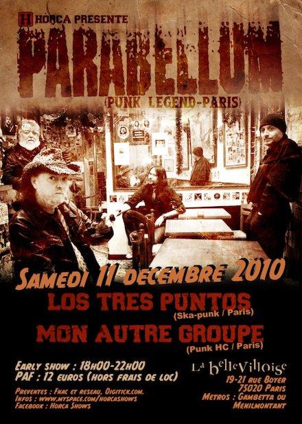 """11 decembre 2010 Parabellum, Los Tres Puntos, Mon Autre Groupe à Paris """"la Bellevilloise"""""""