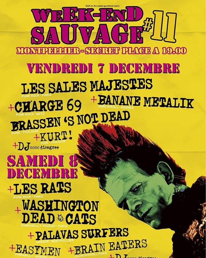 """7 décembre 2018 les Sales Majestés, Charge 69, Banane Metalik, Brassen's Not Dead, Kurt à Montpellier """"Secret Place"""""""