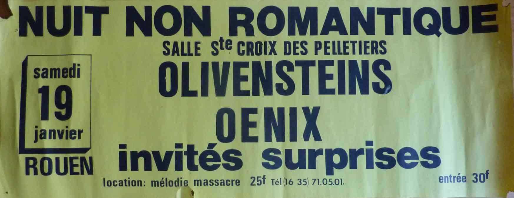 """19 janvier 1980 Olivenstein, Oenix à Rouen """"Salle Sainte Croix des Pelletiers"""""""