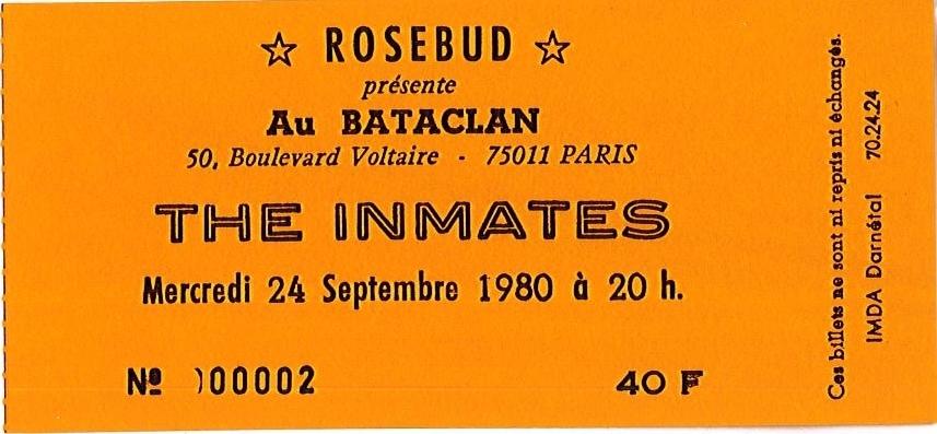 """24 septembre 1980 The Inmates à Paris """"Bataclan"""""""