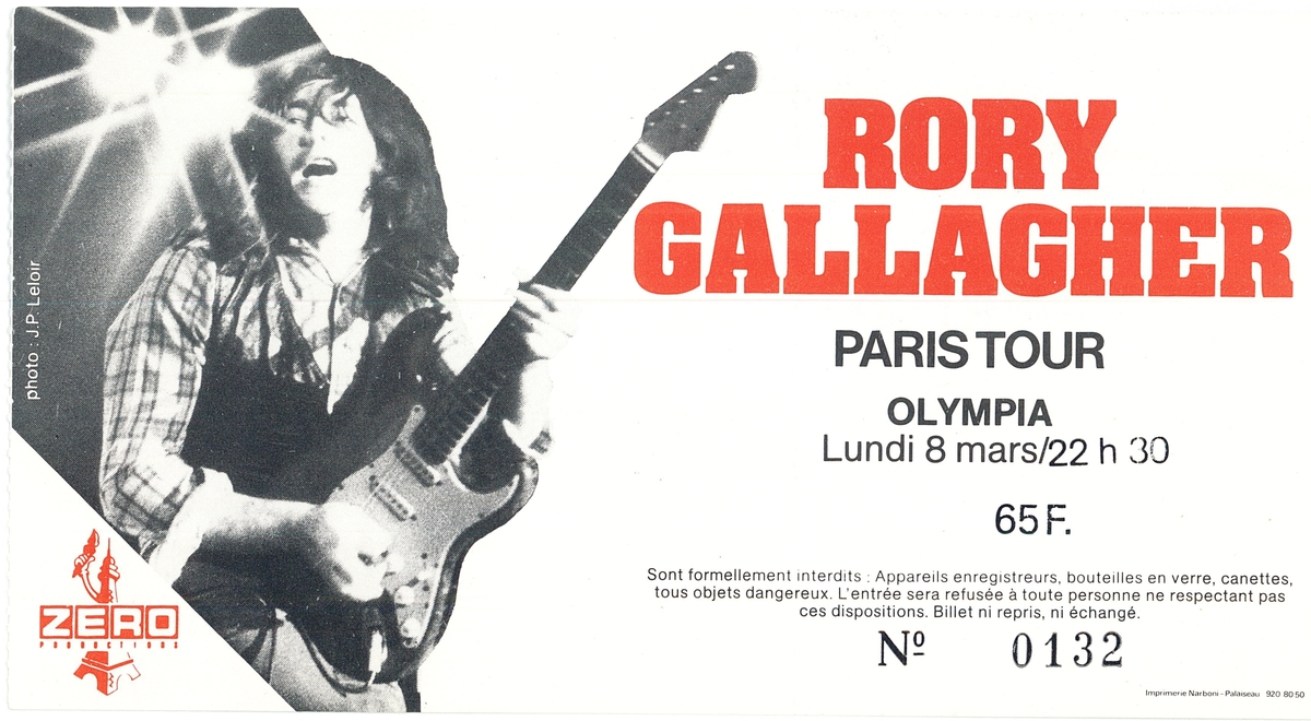 "8 mars 1982 Rory Gallagher, Mike Lester Band à Paris ""Olympia"""