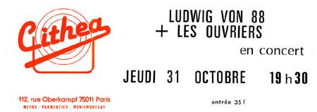 """31 Octobre 1985 Ludwig Von 88, les Ouvriers à Paris """"Cithea"""""""