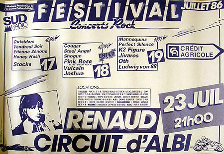 18 juillet 1986 Cougar, Steel Angel, Shogun, Pink Rose, Vulcain, Joshua à Albi