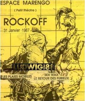 """31 janvier 1987 Ludwig Von 88, Les Plaies Mobiles, Sex Wax, le Retour des Furieux à Angouleme """"Espace Marengo"""""""