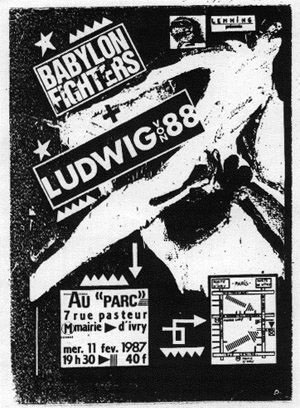 "11 février 1987 Ludwig Von 88, Babylon Fighters à Ivry ""Au Parc"""