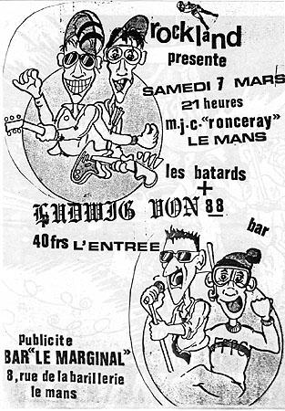 "7 mars 1987 Ludwig Von 88, les Batards au Mans ""MJC Ronceray"""