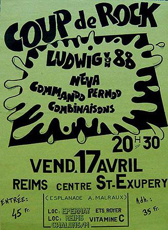 """17 avril 1987 Ludwig Von 88, Neva, Commando Pernod, Combinaisons à Reims """"Centre St Exupery"""""""