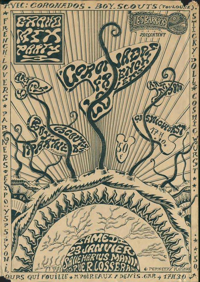"23 janvier 1988 (?) Coronados, Boy Scouts, Sticky Dolls, Cosmic Wurst, French Lovers, Partners à Paris ""Salle Marius Manin"""