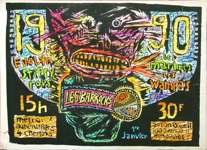 """1er janvier 1990 Evelyn, Stiffy Rops, les Martres, Wampas à Aubervilliers """"le Bon Accueil"""""""
