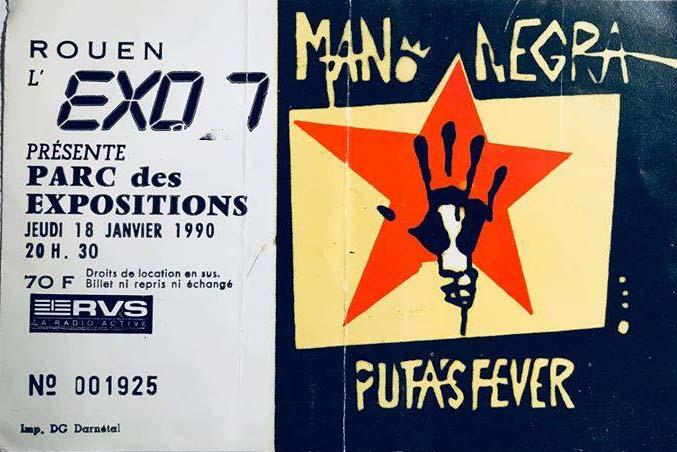 """18 janvier 1990 Mano Negra à Rouen """"Parc des Expositions"""""""