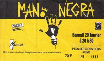 """20 janvier 1990 Mano Negra à Reims """"Parc des Expositions"""""""