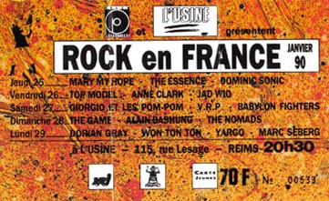 "25 janvier 1990 Mary My Hope, The Essence, Dominic Sonic à Reims ""Usine"""