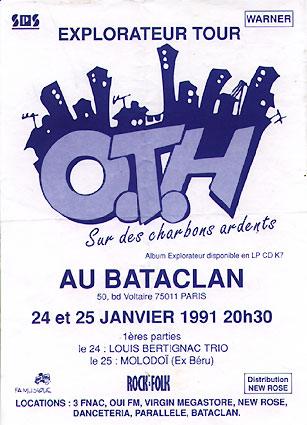 "24 janvier 1991 OTH, Louis Bertignac Trio à Paris ""Bataclan"""