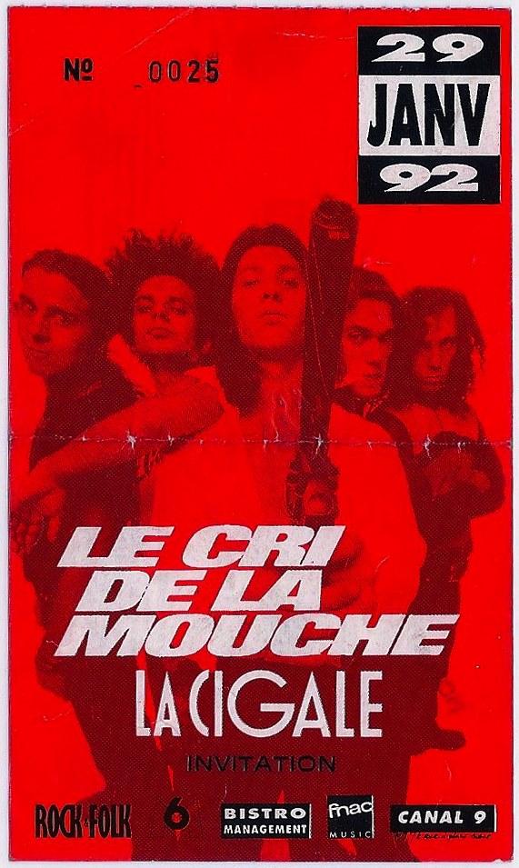 """29 janvier 1992 Le Cri de la Mouche à Paris """"la Cigale"""""""