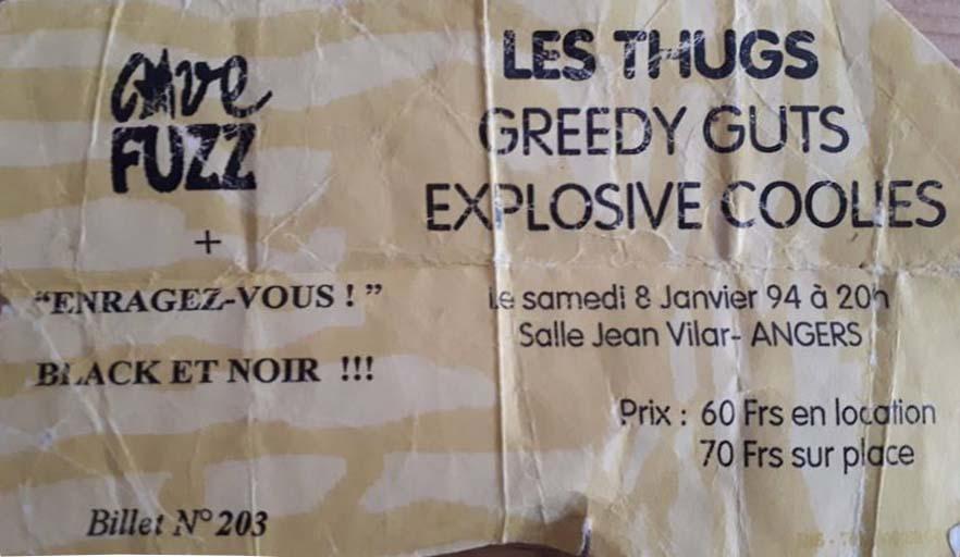 """8 janvier 1994 Les Thugs, Greedy Guts, Explosive Coolies à Angers """"Salle Jean Vilar"""""""
