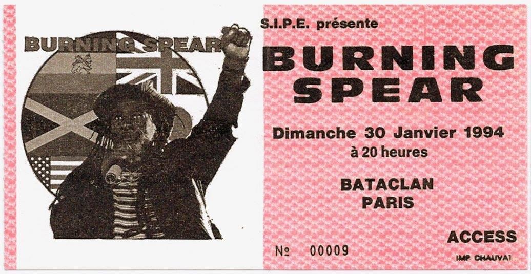 """30 janvier 1994 Burning Spear à Paris """"Bataclan"""""""