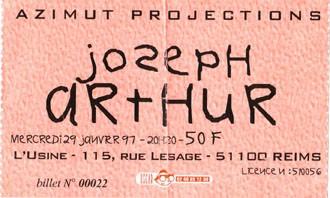 """29 janvier 1997 Joseph Arthur à Reims """"l'Usine"""""""
