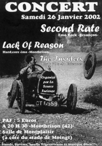 "26 janvier 2002 Second Rate, The Insiders, Lack Of Reason à Montbrison ""Salle Montplaisir"""