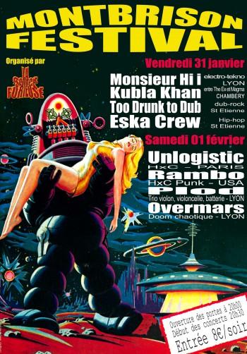 """31 janvier 2003 Monsieur Hi i, Kubla Khan, Too Drunk To Dub, Eska Crew à Montbrison """"Théâtre des Pénitents"""""""