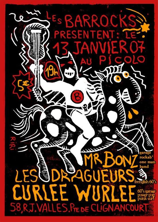 """13 janvier 2007 Mr Bonz, les Dragueurs, Curlee Wurlee à Saint Ouen """"Picolo"""""""