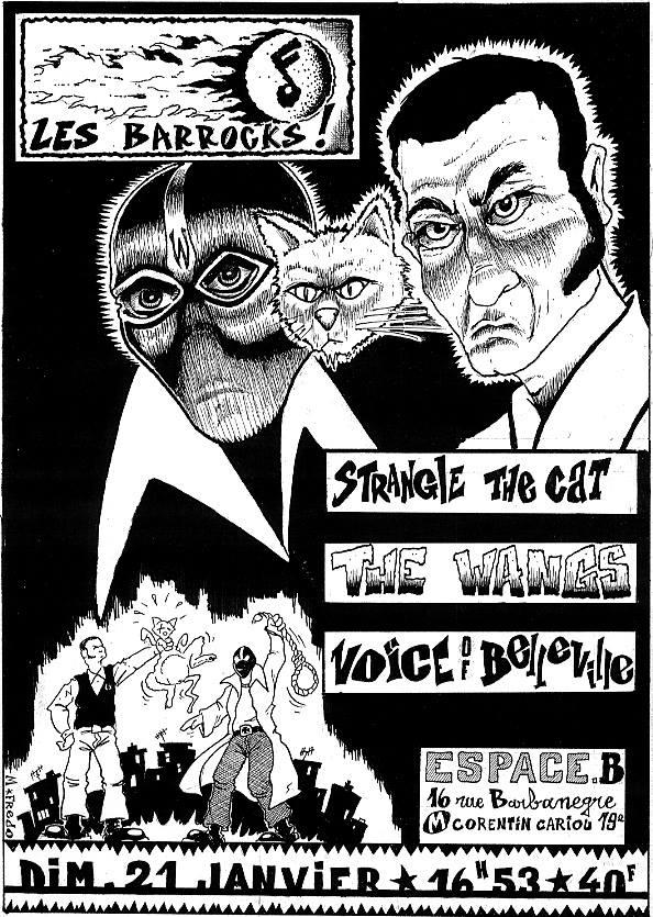 """21 janvier 2007 (?) Strangle The Cat, The Wangs, Voice Of Belleville à Paris """"Espace B"""""""