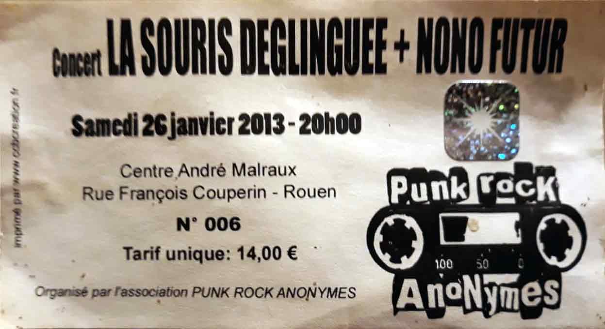 """26 janvier 2013 La Souris Deglinguée, Nono Futur à Rouen """"Centre André Malraux"""""""