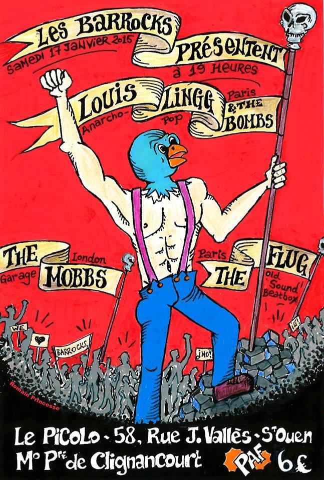 """17 janvier 2015 Louis Lingg & the Bombs, The Mobbs, The Flug à Saint Ouen """"le Picolo"""""""