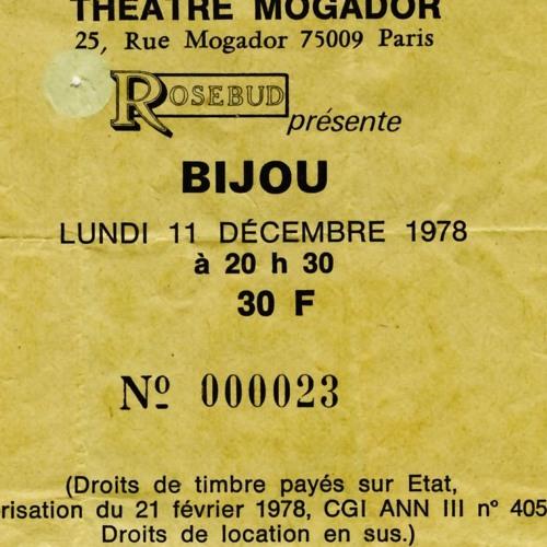 """11 decembre 1978 Bijou à Paris """"Theatre Mogador"""""""