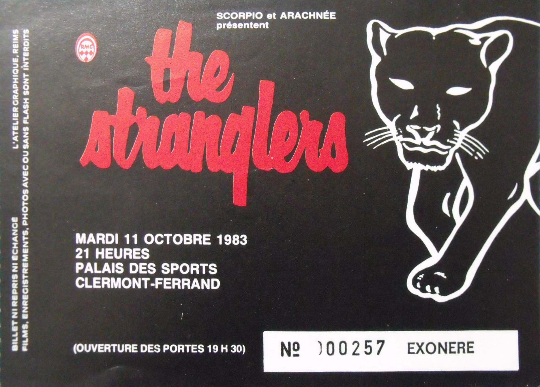 "11 octobre 1983 The Stranglers à Clermont Ferrand ""Palais des Sports"""
