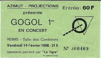 """14 février 1986 Gogol 1er à Reims """"Salle des Cordeliers"""""""
