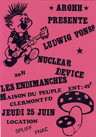 """25 juin 1987 Ludwig Von 88, Nuclear Device, les Endimanches à Clermont Ferrand """"Maison du Peuple"""""""