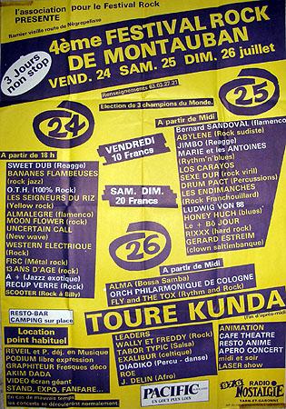 25 juillet 1987 Bernard Sandoval, Abylene, Jimbo, Marie et les Antoines, Los Carayos, Sexe Dur, Drum Pact, les Endimanches, Ludwig Von 88, Honey Huch, le + bo Jour, Rixxx à Montauban