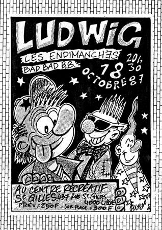"""18 octobre 1987 Ludwig von 88, les Endimanches, Bad Bad BB à Liege """"Centre Récréatif Saint Gilles"""""""