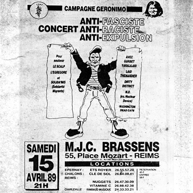 "15 avril 1989 Gurbet Yaralilari, Laid Thenardier, Dirty District, ND, Washington Dead Cats à Reims ""MJC Brassens"""