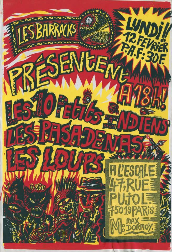 """12 fevrier 1990 les 10 petits Indiens, les Pasadenas, les Loups à Paris """"l'Escale"""""""