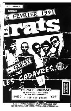 """6 février 1991 Les Rats, les Cadavres à Paris """"Espace Ornano"""""""