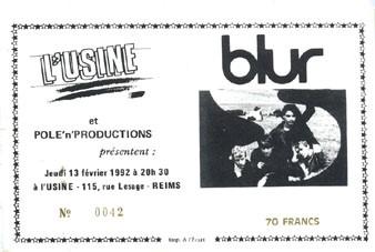 """13 février 1992 Blur à Reims """"l'Usine"""""""