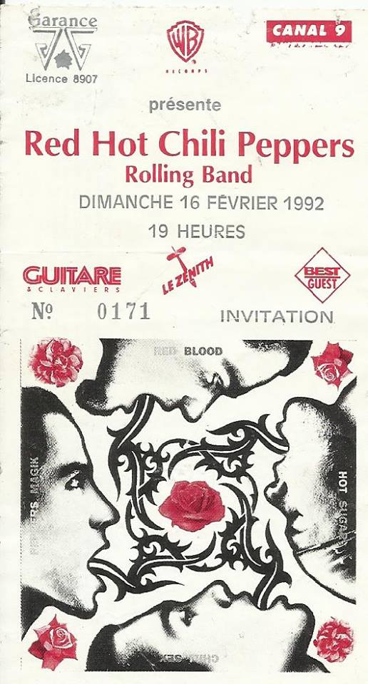 "16 février 1992 Red Hot Chilli Peppers, Rolling Band à Paris ""Zenith"""