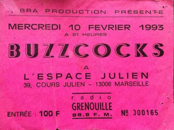 """10 février 1993 Buzzcocks à Marseille """"Espace Julien"""""""