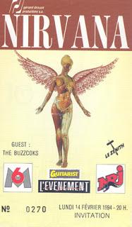 """14 février 1994 Nirvana, Buzzcocks à Paris """"Zenith"""""""
