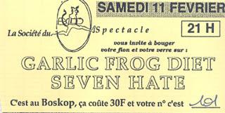 """11 fevrier 1995 Garlic Frog Diet, Seven Hate à ? """"Boskop"""""""